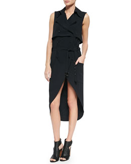 Sleeveless Woven Trench Dress