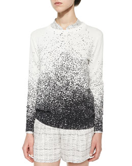 Dotted Ombre Knit Pullover Sweater
