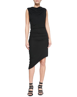 Draped Asymmetric Jersey Dress