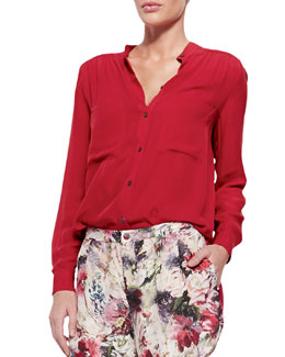 Loose Long-Sleeve Silk Blouse
