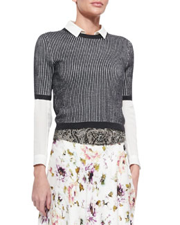 Patterned Cropped Short-Sleeve Sweater