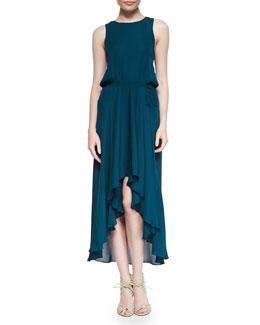Cowl-Back Self-Tie Silk Dress