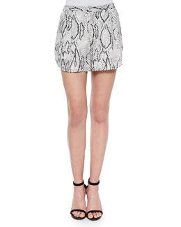 Flowy Snake-Print Shorts