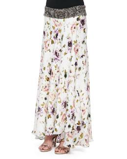 Floral-Print Maxi Skirt with Beaded Waistband