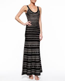 Filipa Chevron-Striped Bandage Gown