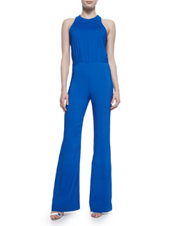 Cross-Back Wide-Leg Jumpsuit, French Blue