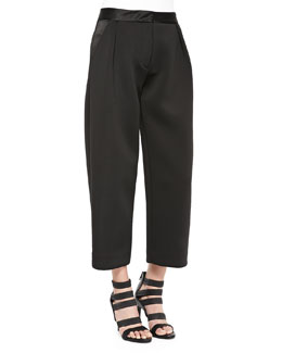Neoprene Pleated Wide-Leg Pants