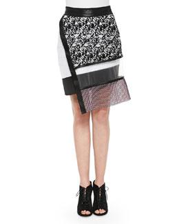 Printed Netted Sheer Combo Skirt