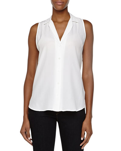 Adalyn Sleeveless Silk Blouse, White