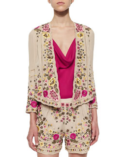 Floral-Embroidered Scalloped Jacket