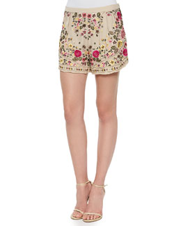 Woven Floral-Embroidered Shorts