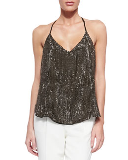 Sequined T-Back Mesh Top