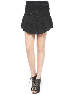 Filen Flounce-Hem Lace Miniskirt, Black