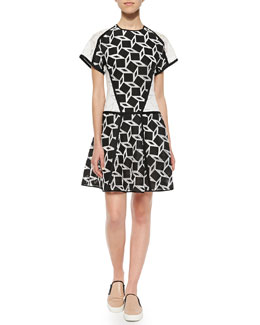 Geo-Print T-Shirt Dress, Black/White