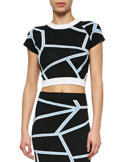 Cropped Geometric-Print Knit T-Shirt, Blue/Black