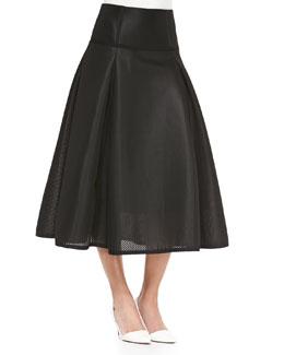 Textured Full Pleated Midi Skirt, Black