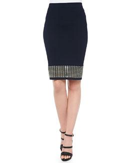 Eyelet Banded Pencil Skirt, Black
