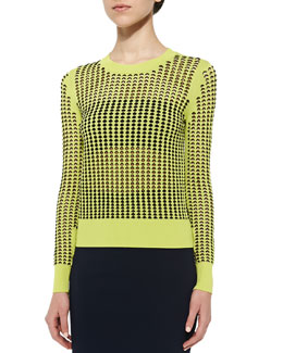 Long-Sleeve Crewneck Eyelet Embroidered Top, Yellow