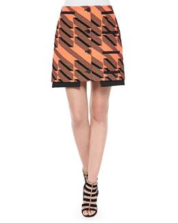 Ribbon Jacquard Welt-Pocket Miniskirt, Tangier/Multi
