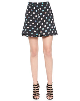 Umbrella-Print Crepe Knit Skort, Black/Multi