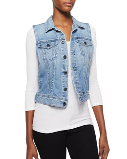 Debbie Light-Wash Denim Vest