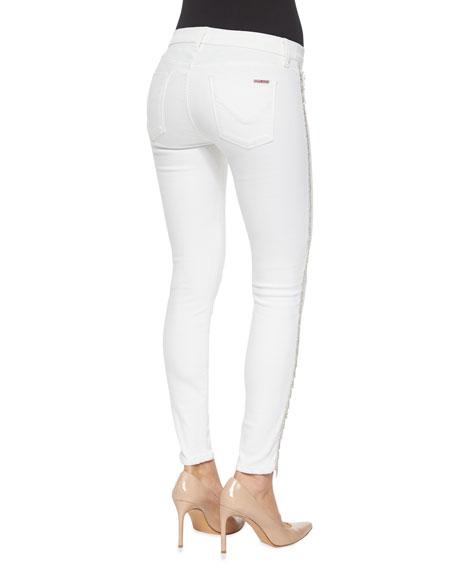 Luna Metallic-Fringe Ankle Pants, White
