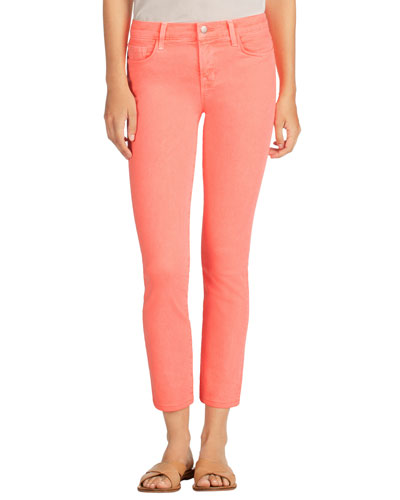 Mid-Rise Denim Ankle Jeans, Pink