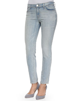 Ellis Cropped Faded Denim Jeans, Blue