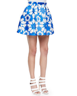 Connor Floral-Print Lampshade Skirt