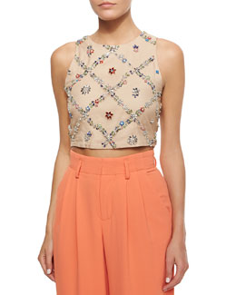 Kesten Beaded-Applique Crop Top