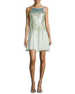 Sleeveless Sequined Cocktail Dress