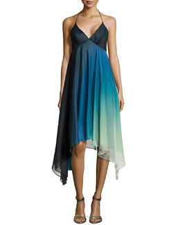 Ombre High-Low Cocktail Halter Dress