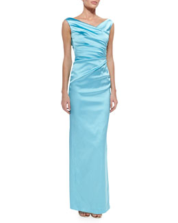 Colly V-Neck Side-Ruched Gown, Aqua