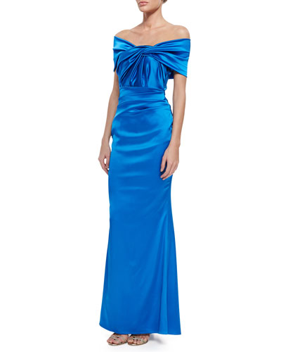 Govanti Adjustable Off-The-Shoulder Twist Gown, Blue