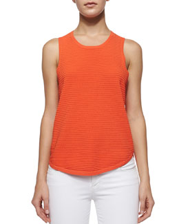 Candice Rib-Knit Tank, Sunset Orange