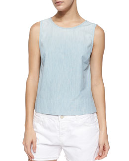 Dreamer Sleeveless Chambray Tank, Blue