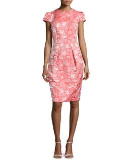 Floral Jacquard Sheath Dress, Coral
