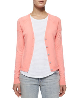Gia Cashmere Button-Front Cardigan, Flamingo