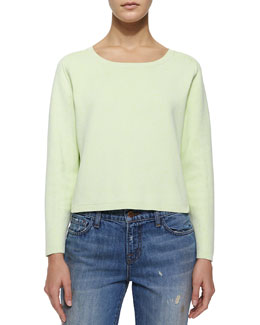 Alex Long-Sleeve Stretch-Knit Sweater, Lime