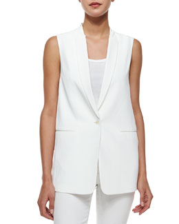 Padella Single-Button Vest, White