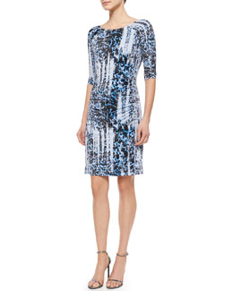 3/4-Sleeve Ikat-Print Jersey Dress