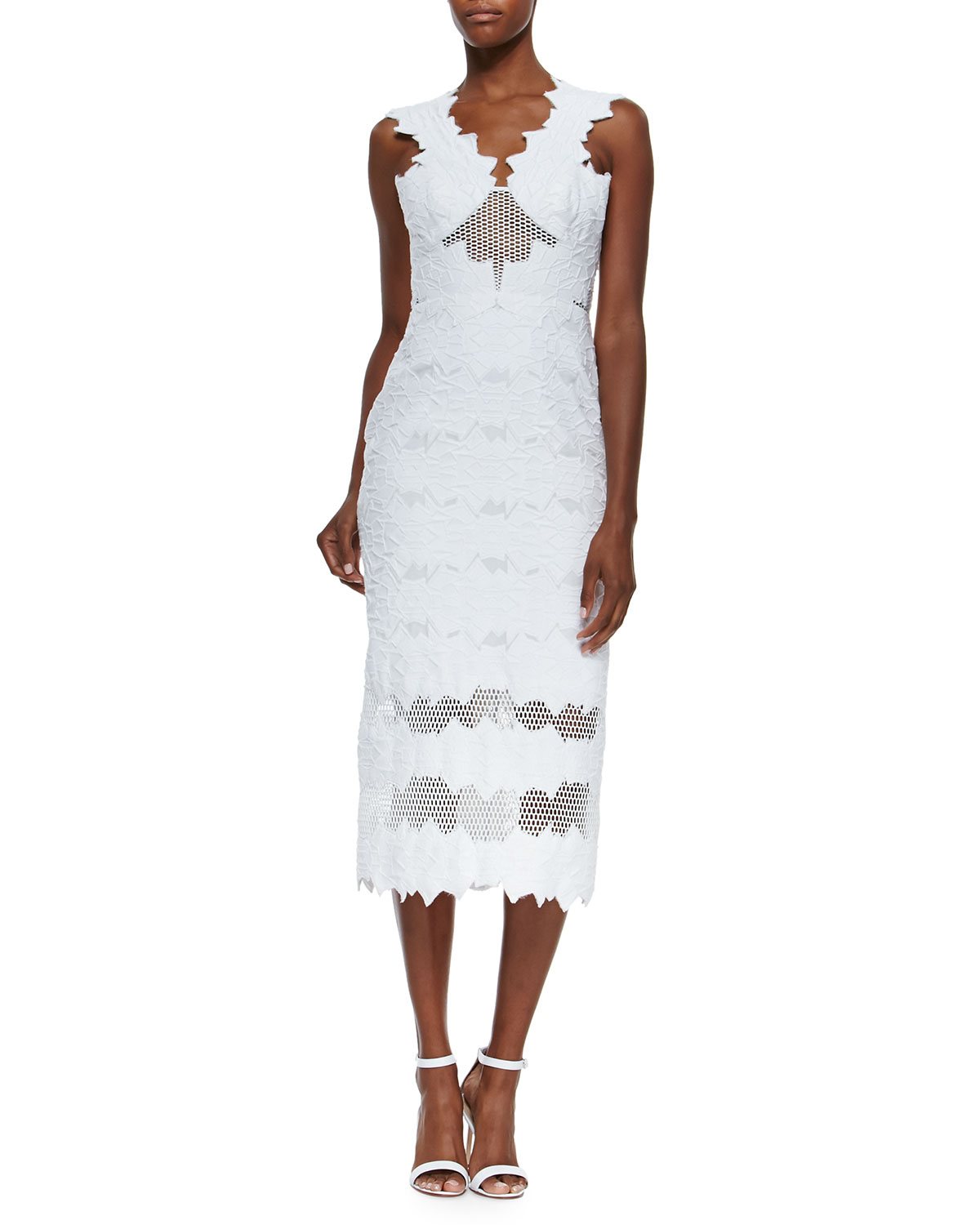 Jonathan Simkhai Burnout Brocade Dress - White