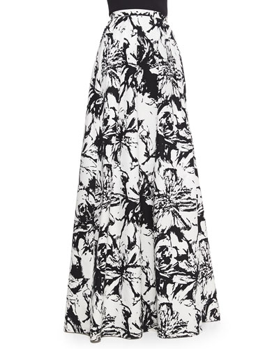 Floral-Print Pleated Ball Skirt