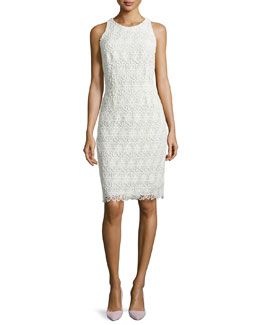 Sleeveless Lace Sheath Dress, Ivory/White