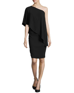 One-Shoulder Cape Cocktail, Black