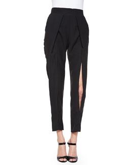 Crepe Slit-Front Pants, Black