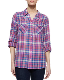Aidan Plaid Tab-Sleeve Blouse, Verbena