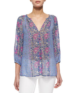 Gloria Long-Sleeve Print Blouse