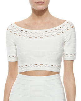 Elsee Scalloped Open-Knit Crop Top, Alabaster