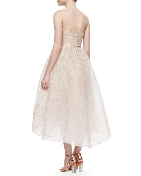 Strapless Iridescent Lace Tea Length Dress Blush